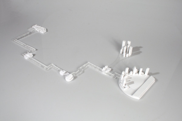 Cognitive Rendition Model of 'Error Pilgrimage' [Starch 3D Print, Laser-cut Acrylic]
